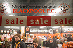 Blackpool 2 Liverpool 1, 12/01/2011. Bloomfield Road, Premier League. Fans inside the club shop at Blackpool FC's Bloomfield Road stadium before the club played host to Liverpool FC in a Premier League match. The home side won by two goals to one. It was the first time the clubs had met in a league match since Blackpool were last in the top division of English football in 1970-71. Photo by Colin McPherson.