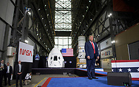 In this photo released by the National Aeronautics and Space Administration (NASA), President Donald Trump speaks inside the Vehicle Assembly Building following the launch of a SpaceX Falcon 9 rocket carrying the company's Crew Dragon spacecraft on NASA's SpaceX Demo-2 mission with NASA astronauts Robert Behnken and Douglas Hurley onboard, Saturday, May 30, 2020, at NASA's Kennedy Space Center in Florida. NASA's SpaceX Demo-2 mission is the first launch with astronauts of the SpaceX Crew Dragon spacecraft and Falcon 9 rocket to the International Space Station as part of the agency's Commercial Crew Program. The test flight serves as an end-to-end demonstration of SpaceX's crew transportation system. Behnken and Hurley launched at 3:22 p.m. EDT on Saturday, May 30, from Launch Complex 39A at the Kennedy Space Center. A new era of human spaceflight is set to begin as American astronauts once again launch on an American rocket from American soil to low-Earth orbit for the first time since the conclusion of the Space Shuttle Program in 2011. <br /> Mandatory Credit: Bill Ingalls / NASA via CNP/AdMedia