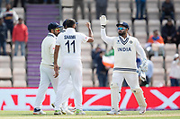 Mohammad Shami, India is congratulated by Rishabh Pant, India following the wicket of Kyle Jamieson, New Zealand during India vs New Zealand, ICC World Test Championship Final Cricket at The Hampshire Bowl on 22nd June 2021