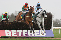 Racer winner Silver Adonis ridden by Mr T Weston (R) jumps alongside The Laodicean ridden by Andrew Thornton during the Tim Barclay Memorial Handicap Chase at Fakenham Racecourse, Norfolk - 16/03/12 - MANDATORY CREDIT: Gavin Ellis/TGSPHOTO - Self billing applies where appropriate - 0845 094 6026 - contact@tgsphoto.co.uk - NO UNPAID USE.