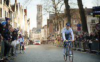 Leigh Howard (AUS/Orica-GreenEDGE) passes the street that connects the Central Square in Bruges (where the team presentation and race start is) and the teambus car park and it's packed with people, even at 9.30AM on a sunday morning.<br /> <br /> 99th Ronde van Vlaanderen 2015