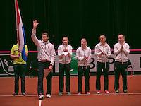 The Netherlands, Den Bosch, 16.04.2014. Fed Cup Netherlands-Japan, Official Opening Ceremony, Dutch team<br /> Photo:Tennisimages/Henk Koster