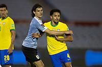 17th November 2020; Centenario Stadium, Montevideo, Uruguay; Fifa World Cup 2022 Qualifying football; Uruguay versus Brazil; Edinson Cavani of Uruguay manhandles Marquinhos of Brazil