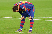 19th December 2020; Camp Nou, Barcelona, Catalonia, Spain; La Liga Football, Barcelona versus Valencia;  Leo Messi looks at the penalty spot as he missed his penalty kick in the 45th minute for the goal that would ahve equalled the goal tally of 643 goals from Pele of Brazil