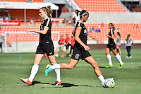 Houston, TX - Sunday Oct. 09, 2016: Samantha Mewis, Abby Erceg prior to a National Women's Soccer League (NWSL) Championship match between the Washington Spirit and the Western New York Flash at BBVA Compass Stadium.