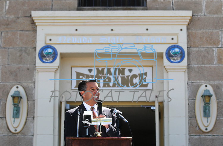 Nevada Gov. Brian Sandoval speaks to more than 500 people who attended a decommissioning ceremony at the historic Nevada State Prison in Carson City, Nev. on Friday, May 18, 2012. .Photo by Cathleen Allison