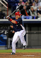 13 March 2008: Washington Nationals' catcher Jesus Flores in action during a Spring Training game against the Florida Marlins at Space Coast Stadium, in Viera, Florida. The Marlins defeated the Nationals 2-1 in the Grapefruit League matchup...Mandatory Photo Credit: Ed Wolfstein Photo