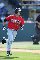 Kevin Newman (2) of the Arizona Wildcats runs to first base during a game against the UCLA Bruins at Jackie Robinson Stadium on May 16, 2015 in Los Angeles, California. UCLA defeated Arizona, 6-0. (Larry Goren/Four Seam Images)