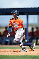 GCL Astros left fielder Jose Benjamin (56) at bat during a game against the GCL Nationals on August 14, 2016 at the Carl Barger Baseball Complex in Viera, Florida.  GCL Nationals defeated GCL Astros 8-6.  (Mike Janes/Four Seam Images)