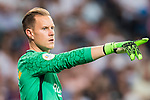 Goalkeeper Marc-Andre Ter Stegen of FC Barcelona reacts during their Supercopa de Espana Final 2nd Leg match between Real Madrid and FC Barcelona at the Estadio Santiago Bernabeu on 16 August 2017 in Madrid, Spain. Photo by Diego Gonzalez Souto / Power Sport Images