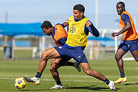 BRADENTON, FL - JANUARY 22: Jonathan Lewis, Miles Robinson battle for a ball during a training session at IMG Academy on January 22, 2021 in Bradenton, Florida.