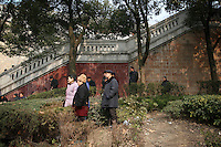 CHINA. Hubei Province. Wuhan. Elderly people gather in a park for morning activities.  Wuhan (population 4.3 million) is a sprawling city that sits on both sides of the Yangtze River.  2008.