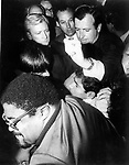 Rosey Grier and Robert Kennedy staff try to get the gun away from Sirhan Sirhan after the shooting at the Ambassador Hotel Los Angeles California, Sirhan Sirhan held by RFK staff and Rosey Grier, Robert F. Kennedy, RFK, Bobby, Bobby Kennedy, assassination of RFK, assassination, assassination of Robert F. Kennedy, Ethel Kennedy, June 5 1968, Sirhan Sirhan,  Ambassador Hotel Los Angeles California, Rosey Grier, George Plimpton, Rafer Johnson,