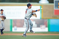 Danville Braves shortstop Beau Philip (4) makes a throw to first base against the Burlington Royals at Burlington Athletic Stadium on July 13, 2019 in Burlington, North Carolina. The Royals defeated the Braves 5-2. (Brian Westerholt/Four Seam Images)