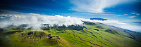 A panoramic aerial view of the Big Island's North Kohala, with Mauna Kea in the distance; clouds hover over the treeline above grass-covered cinder cones.