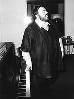 Nov 1982 File Photo - Montreal (Quebec) CANADA -<br /> Tenor  Luciano Pavarotti, rehearsing in his dressing room before a concert at the Montreal Forum with the Montreal Symphony Orchestra , Nov 11th 1982.<br /> <br /> Pavarotti has been an opera singer since 1955.