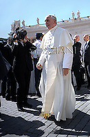 Pope Francis during his weekly general audience in St. Peter square at the Vatican, Wednesday. 12 June  2013