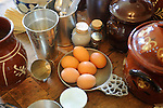 Heritage Days Festival. Union County. Colonial kitchen ware and eggs.