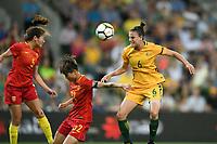 22 November 2017, Melbourne - CHLOE LOGARZO (6) of Australia heads the ball during an international friendly match between the Australian Matildas and China PR at AAMI Stadium in Melbourne, Australia.. Australia won 5-1. Photo Sydney Low