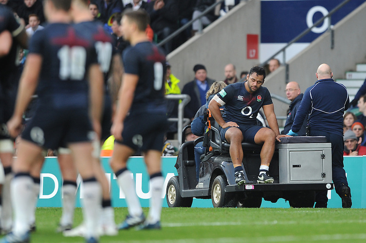 Billy Vunipola of England leaves the field during the Old Mutual Wealth Series match between England and Argentina at Twickenham Stadium on Saturday 26th November 2016 (Photo by Rob Munro)