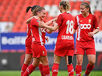 Davinia Vanmechelen (25) of Standard pictured celebrating after scoring a goal during a female soccer game between Standard Femina de Liege and RSC Anderlecht on the 8th matchday in play off 1 of the 2020 - 2021 season of Belgian Scooore Womens Super League , tuesday 18 th of May 2021  in Angleur , Belgium . PHOTO SPORTPIX.BE | SPP | DAVID CATRY
