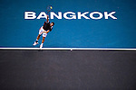 BANGKOK, THAILAND - OCTOBER 03:  Guillermo Garcia-Lopez of Spain serves against Jarkko Nieminen of Finland in the singles final match during the Day 9 of the PTT Thailand Open at Impact Arena on October 3, 2010 in Bangkok, Thailand. Photo by Victor Fraile / The Power of Sport Images