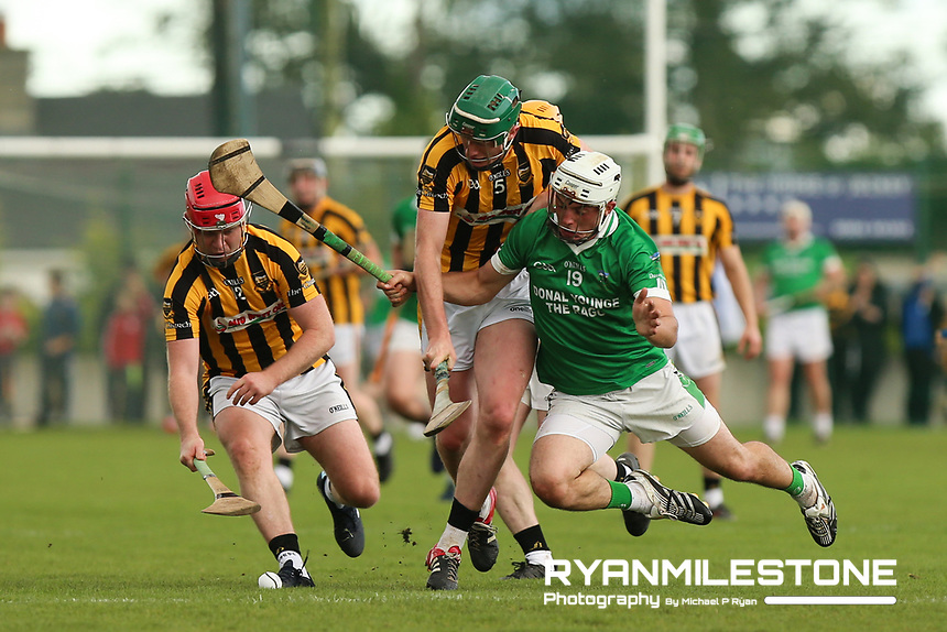 EVENT:<br /> Mid Tipperary Senior Hurling Final<br /> Upperchurch-Drombane vs Drom-Inch<br /> Sunday 29th September 2019,<br /> Littleton, Tipperary<br /> <br /> CAPTION:<br /> Tommy Nolan of Drom-Inch in action against Paul Ryan and John Ryan of Upperchurch-Drombane<br /> <br /> Photo By: Michael P Ryan