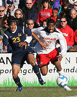 Jeremy Hall #17 of the University of Maryland battles with Dinitrius Omphroy #23 of the University of California during an NCAA championship round of sixteen soccer match at Ludwig Field, on November 29, 2008 in College Park, Maryland. The match was won by Maryland 2-1