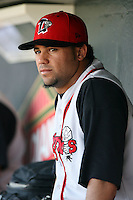 June 15th 2008:  Pitcher Luis Perez of the Lansing Lugnuts, Class-A affiliate of the Toronto Blue Jays, during a game at Dow Diamond in Midland, MI.  Photo by:  Mike Janes/Four Seam Images