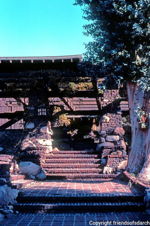 Greene & Greene: Irwin House, 240 N. Grand Ave., Pasadena. Entrance.  Photo '77.