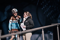 Tony Gallopin (FRA/AG2R-LaMondiale) interviewed on the start podium<br /> <br /> 76th Paris-Nice 2018<br /> stage 6: Sisteron > Vence (198km)