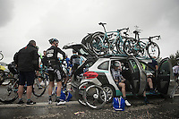 with the race neutralised, riders wait in the teamcars for the UCI commisaires decision<br /> <br /> Tour of Turkey 2014<br /> stage 4