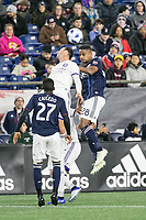 Foxborough, Massachusetts - October 13, 2018:  The New England Revolution (blue/white) beat Orlando City Soccer Club (white) 2-0 in a Major League Soccer (MLS) match at Gillette Stadium.