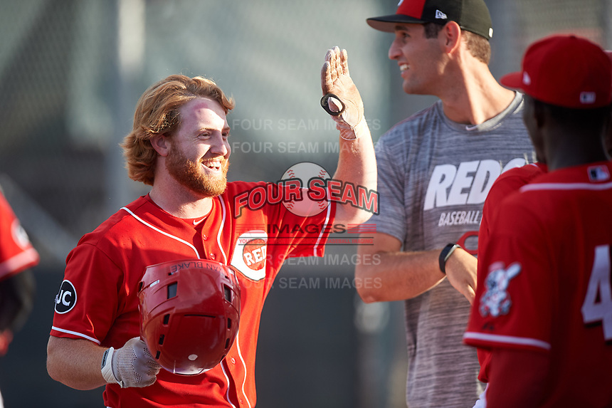 AZL Reds Caleb Van Blake (39) is congratulated by teammates after hitting a home run during an Arizona League game against the AZL Athletics Green on July 21, 2019 at the Cincinnati Reds Spring Training Complex in Goodyear, Arizona. The AZL Reds defeated the AZL Athletics Green 8-6. (Zachary Lucy/Four Seam Images)