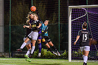 Anderlecht midfielder Tine De Caigny (6) has an attempt on goal, Aalst's goalkeeper Silke Baccarne (1) and Aalst's defender Tiana Andries (11) defend during a female soccer game between RSC Anderlecht Dames and Eendracht Aalst Ladies  on the fourth matchday of the 2020 - 2021 season of Belgian Womens Super League , Tuesday 13 th of October 2020  in ANDERLECHT , Belgium . PHOTO SPORTPIX.BE | SPP | STIJN AUDOOREN