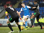 St Johnstone v Hibs…16.03.18…  McDiarmid Park    SPFL<br />Steven MacLean battles with Efe Ambrose<br />Picture by Graeme Hart. <br />Copyright Perthshire Picture Agency<br />Tel: 01738 623350  Mobile: 07990 594431