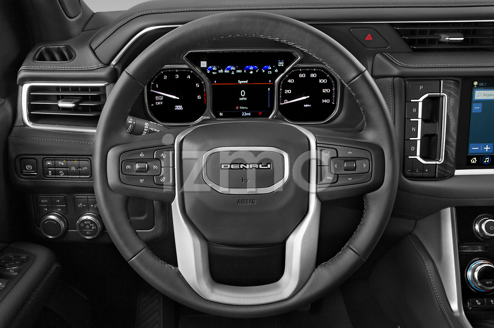 Car pictures of steering wheel view of a 2021 GMC Yukon-XL Denali 5 Door SUV Steering Wheel