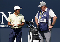 15th July 2021; Royal St Georges Golf Club, Sandwich, Kent, England; The Open Championship, PGA Tour, European Tour Golf, First Round ; Takumi Kanaya (JAP) speaks with his caddie on the 1st tee