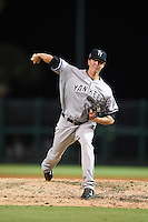 Tampa Yankees pitcher Conor Mullee (58) delivers a pitch during a game against the Lakeland Flying Tigers on April 9, 2015 at Joker Marchant Stadium in Lakeland, Florida.  Tampa defeated Lakeland 2-0.  (Mike Janes/Four Seam Images)