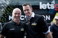2 Australian (former) Roubaix winners meeting up at the finish in Como: Stuart O'Gready & Matthew Hayman<br /> <br /> Stage 15: Ivrea to Como (232km)<br /> 102nd Giro d'Italia 2019<br /> <br /> ©kramon
