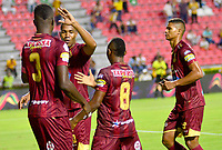 IBAGUE – COLOMBIA, 09-10-2019: Sergio Mosquera del Tolima celebra después de anotar el segundo gol de su equipo partido entre Deportes Tolima y Millonarios por la fecha 16 de la Liga Águila II 2019 jugado en el estadio Manuel Murillo Toro de la ciudad de Ibagué. / Sergio Mosquera of Tolima celebrates after scoring the second goal of his team during match between Deportes Tolima and Millonarios for the date 16 as part of Aguila League II 2019 played at Manuel Murillo Toro stadium in Ibague. Photo: VizzorImage / Juan Carlos Escobar / Cont
