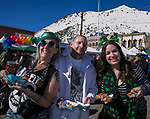 Jen, Ron and Stephanie during the 28th annual Rocky Mountain Oyster Fry and St. Patrick's Day Parade in Virginia City, Nevada on Saturday March 16, 2019.