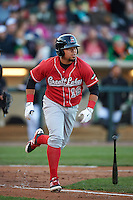 Great Lakes Loons first baseman Josmar Cordero (16) at bat during a game against the Dayton Dragons on May 21, 2015 at Fifth Third Field in Dayton, Ohio.  Great Lakes defeated Dayton 4-3.  (Mike Janes/Four Seam Images)