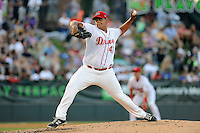 Pitcher Dedgar Jimenez (47) of the Greenville Drive delivers a pitch in a game against the Charleston RiverDogs on Sunday, May 24, 2015, at Fluor Field at the West End in Greenville, South Carolina. Charleston won 3-2. (Tom Priddy/Four Seam Images)