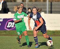 20131211 - HENIN-BEAUMONT , France :  duel pictured between Henin's Rachel Saidi (left) and PSG's Lindsey Horan (right) during the female soccer match between FC Henin Beaumont and Paris Saint-Germain Feminin , of the Ninth matchday in the French First Female Division . Wednesday 11 December 2013. PHOTO DAVID CATRY