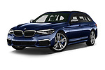 Stock pictures of low aggressive front three quarter view of 2019 BMW 5-Series - 5 Door Wagon Low Aggressive