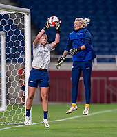 SAITAMA, JAPAN - JULY 24: Alyssa Naeher #1 of the USWNT warms up before a game between New Zealand and USWNT at Saitama Stadium on July 24, 2021 in Saitama, Japan.