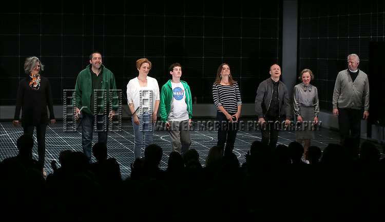 Ian Barford, Francesca Faridany, Alex Sharp, Enid Graham, Richard Hollis, Helen Carey and David Manis during the Broadway Opening Night Performance Curtain Call for 'The Curious Incident of the Dog in the Night-Time'  at the Barrymore Theatre on October 5, 2014 in New York City.