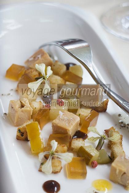 "Europe/Espagne/Iles Canaries/Tenerife/La Orotava ,restaurant ""Lucas Maes"" tartare de foie gras et gelée de vin Tokay de Hongrie"