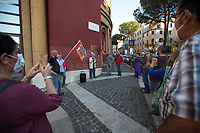 """Rome, Italy. 04th June, 2021. Today, to mark the 77th Anniversary of the Liberation of Rome from nazi-fascism (Liberazione di Roma – 04-05 June 1944), the ANPI branch Trullo-Magliana """"Franco Bartolini"""" (Associazione Nazionale Partigiani d'Italia, National Association of Italian Partizans Members of the Italian Resistance in WWII) held a rally outside the Garbatella's Palladium (2.) where a golden plaque remembers the Roman Communist Partizan of """"Bandiera Rossa"""" Franco Bartolini and his poem """"Libertא"""" (Freedom, 3.). This story begins with photos taken at the Ponte di Ferro (Iron Bridge, Ponte dell'Industria) where 10 Women were massacred by the nazi-fascists on the 7th April, 1944 due to have assaulted a warehouse - linked to the occupation armies - to collect width and bread for the starved population. To remember this """"forgotten"""" massacre, Partizan Franco Bartolini fought to have a Memorial Stone placed at the beginning of the Bridge by the Council of which he took care of it for the rest of his life (4.).<br /> For the Biography of Franco Bartolini in English and Italian please refer to the PDF Article at the beginning of this story. <br /> <br /> Footnotes & Links<br /> 1. http://anpitrullo.blogspot.com/  <br /> 2. (Source, Wikipedia.org ENG) http://tiny.cc/6fm3nz   <br /> 3. Libertà (Freedom), Poem by Partizan Franco Bartolini<br /> https://lucaneve.photoshelter.com/gallery-image/24-03-2021-77th-Anniversary-Of-The-nazi-fascist-Fosse-Ardeatine-Massacre/G0000Ff6GDd9tUJc/I0000JHqxDxrcczo/C0000GPpTqAGd2Gg  <br /> 4. (Source, Wikipedia.org ITA) https://it.wikipedia.org/wiki/Eccidio_del_ponte_dell%27Industria <br /> Some Stories Related To: Resistenza, Partigiani, the Liberazione from nazi-fascism in Italy;<br /> 04.06.18 Centocelle: Gold Medal For Antifascist Resistance https://bit.ly/2AVgnHV    <br /> 25.04.20 I Partigiani: http://bit.do/fMDqX  <br /> 24.03.21 77th Anniversary Of The nazi-fascist Fosse Ardeatine Massacre http://bit.do/fMDqX     <br /> 25.04.21 A Cen"""
